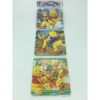 3 Pieces Puzzle Set - Winnie The Pooh With Drawing Book At Back Side