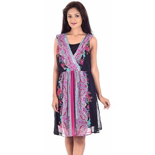 Urban Religion Black And Pink Ployester Knee-Length  Party Wear Dress For Women