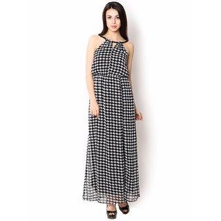 Urban Religion  Black Color Dobby Printed Ployester Full Length  Party Wear Dress For Women