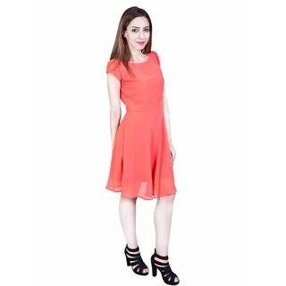 Urban Religion Light Orange Polyester Party Wear Dress For Women