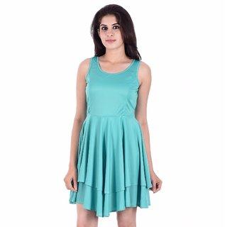 Urban Religion Light Green Viscose Party Wear Dress For Women