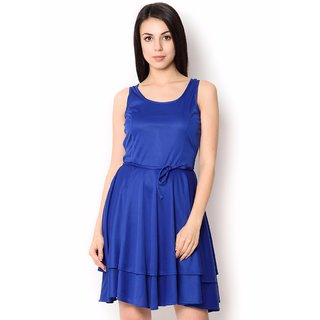 Urban Religion Blue Poly Viscose Party Wear Dress For Women