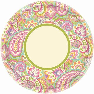 Amscan Disposable Pretty Paisley Round Dinner Paper Plates Party Supply (8 Pack), 10