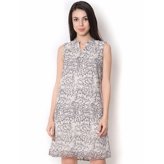 Urban Religion Silver  Polyester Party Wear Dress For Women