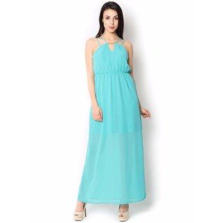 Urban Religion  Light Blue Ployester Full Length  Party Wear Dress For Women
