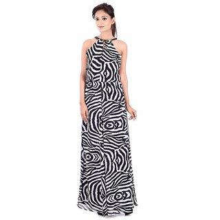 Urban Religion  Black Printed Ployester Full Length  Party Wear Dress For Women
