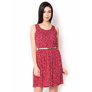 Urban Religion Printed  Pink Viscose Knee-Length  Party Wear Dress For Women