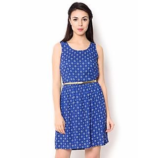 Urban Religion Printed  Light Blue Viscose Knee-Length  Party Wear Dress For Women