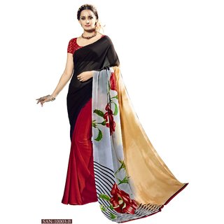 RK FASHIONS Red Georgette Party Wear Printed Saree With Unstitched Blouse - RK227992