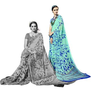 RK FASHIONS Turquoise Georgette Party Wear Printed Saree With Unstitched Blouse - RK228012