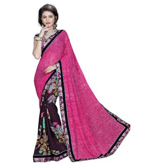 RK FASHIONS Pink Georgette Party Wear Printed Saree With Unstitched Blouse - RK235152