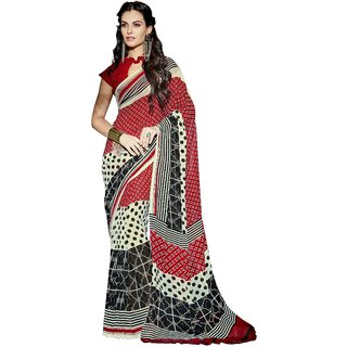 RK FASHIONS Maroon Faux Georgette Party Wear Printed Saree With Unstitched Blouse - RK215602