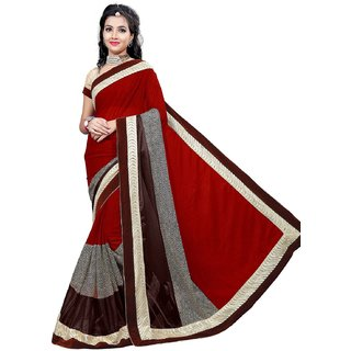 RK FASHIONS Maroon Lycra Party Wear Printed Saree With Unstitched Blouse - RK219592