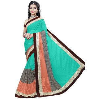 RK FASHIONS Green Lycra Party Wear Printed Saree With Unstitched Blouse - RK219602