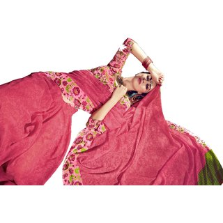 RK FASHIONS Pink Georgette Party Wear Printed Saree With Unstitched Blouse - RK228022