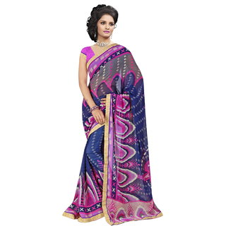 RK FASHIONS Blue Georgette Party Wear Printed Saree With Unstitched Blouse - RK230662