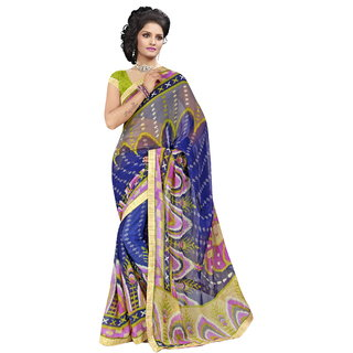 RK FASHIONS Blue Georgette Party Wear Printed Saree With Unstitched Blouse - RK230672