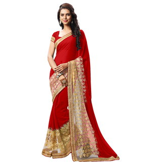 RK FASHIONS Maroon Faux Georgette Party Wear Printed Saree With Unstitched Blouse - RK232812