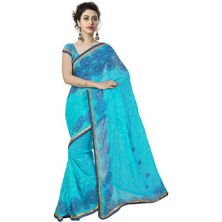 RK FASHIONS Blue Georgette Party Wear Printed Saree With Unstitched Blouse - RK235172