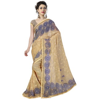 RK FASHIONS Beige Georgette Party Wear Printed Saree With Unstitched Blouse - RK235182