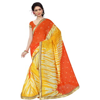 RK FASHIONS Yellow Georgette Party Wear Printed Saree With Unstitched Blouse - RK236742
