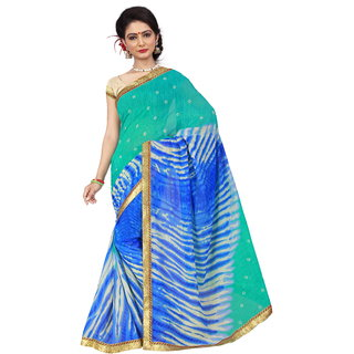 RK FASHIONS Blue Georgette Party Wear Printed Saree With Unstitched Blouse - RK236752