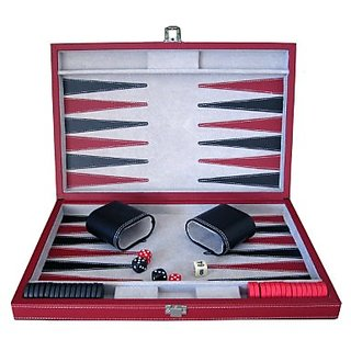 Brandon Red and Black Leatherette Backgammon Set - 15 Inch Folding Travel Board Game - Large