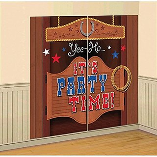 Amscan High Riding Western Party Saloon Door Scene Setter Wall Decorating Kit, Brown, 65