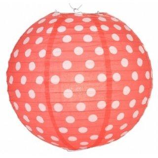 12 Inch Polka Dot Paper Lantern - Red