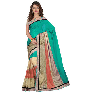 RK FASHIONS Green Lycra Party Wear Printed Saree With Unstitched Blouse - RK214692