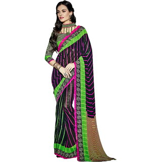 RK FASHIONS Magenta Faux Georgette Party Wear Printed Saree With Unstitched Blouse - RK215732