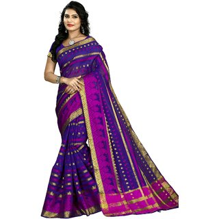 RK FASHIONS Blue Cotton Silk Party Wear Printed Saree With Unstitched Blouse - RK219852