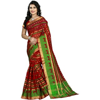 RK FASHIONS Red Cotton Silk Party Wear Printed Saree With Unstitched Blouse - RK219862