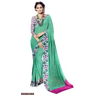 RK FASHIONS Green Georgette Party Wear Printed Saree With Unstitched Blouse - RK228032
