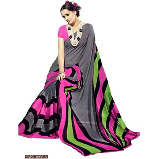 RK Fashions8 Gray  Georgette  Printed Saree With Blouse