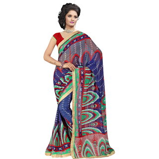 RK FASHIONS Blue Georgette Party Wear Printed Saree With Unstitched Blouse - RK230682