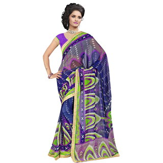 RK FASHIONS Blue Georgette Party Wear Printed Saree With Unstitched Blouse - RK230692