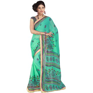 RK FASHIONS Green Georgette Party Wear Printed Saree With Unstitched Blouse - RK230702