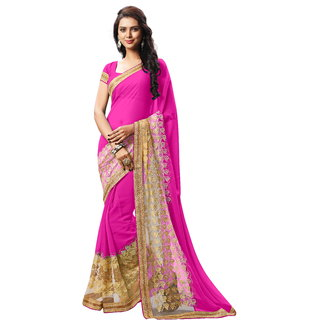 RK FASHIONS Pink Faux Georgette Party Wear Printed Saree With Unstitched Blouse - RK232822