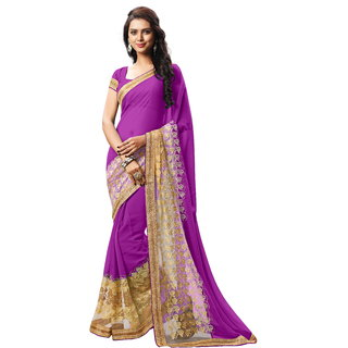 RK FASHIONS Purple Faux Georgette Party Wear Printed Saree With Unstitched Blouse - RK232842