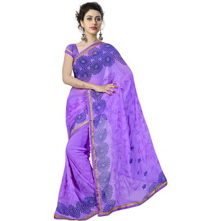 RK FASHIONS Purple Georgette Party Wear Printed Saree With Unstitched Blouse - RK235192