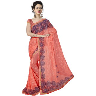 RK FASHIONS Orange Georgette Party Wear Printed Saree With Unstitched Blouse - RK235202