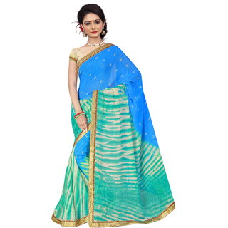 RK FASHIONS Blue Georgette Party Wear Printed Saree With Unstitched Blouse - RK236772