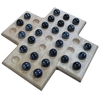 Sean Wood Cross Solitaire Board Game with Black Marble Pieces - 8 Inch Set