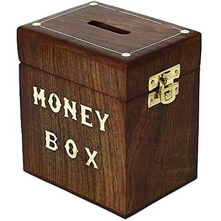 Handcrafted Wooden Money Box Safe Piggy Bank For Girls Boys Adults 3X4X4.25 Inch