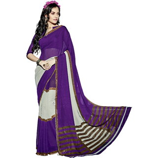 RK FASHIONS Purple Faux Georgette Party Wear Printed Saree With Unstitched Blouse - RK215442