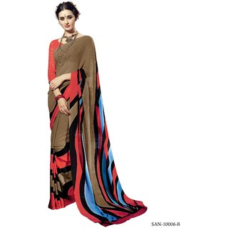 RK FASHIONS Brown  Georgette Party Wear Printed Saree With Unstitched Blouse - RK228052