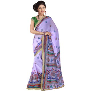 RK FASHIONS Purple Georgette Party Wear Printed Saree With Unstitched Blouse - RK230712