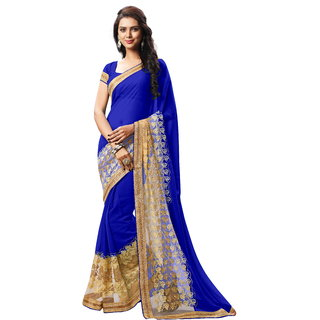 RK FASHIONS Blue Faux Georgette Party Wear Printed Saree With Unstitched Blouse - RK232862