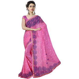 RK FASHIONS Pink Georgette Party Wear Printed Saree With Unstitched Blouse - RK235212
